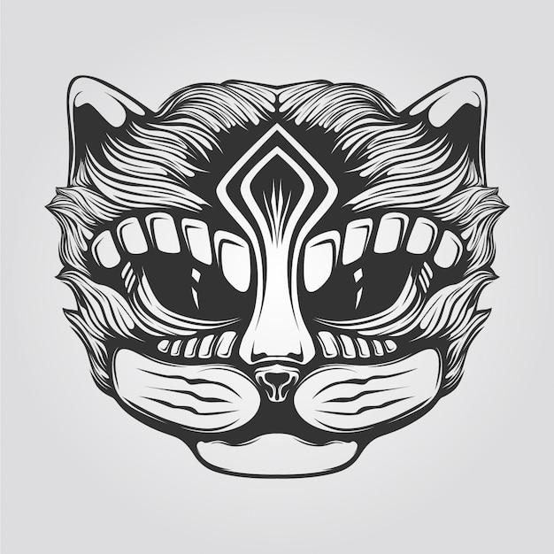 Arte lineal en blanco y negro de gato