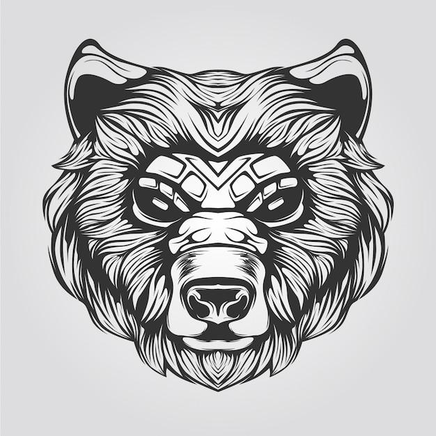Arte lineal en blanco y negro de oso
