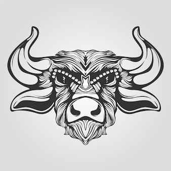 Arte lineal en blanco y negro de vaca