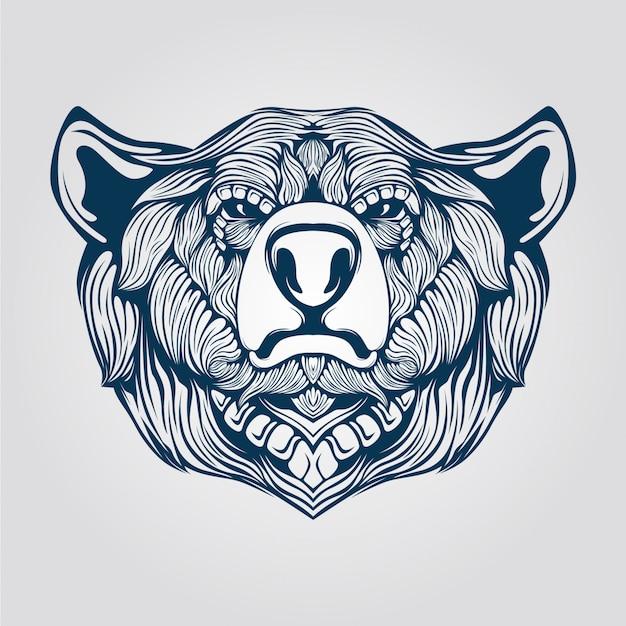 Arte lineal de cabeza de oso
