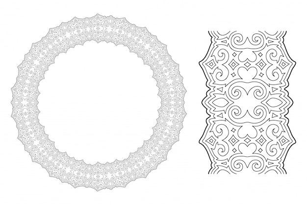 Arte lineal para colorear con corona vintage