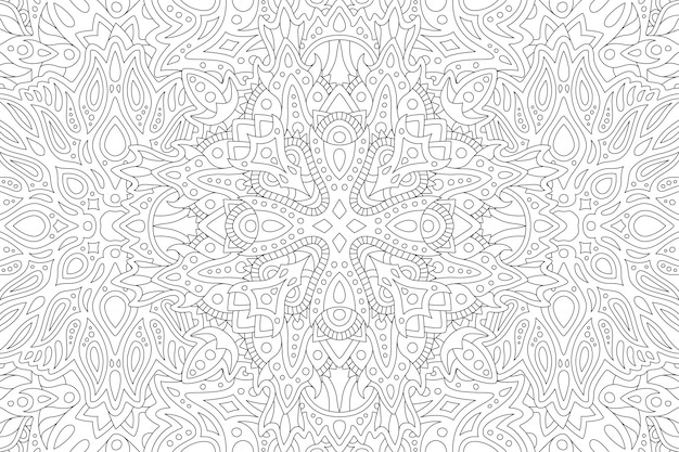 Arte lineal para colorear libro con patrón.