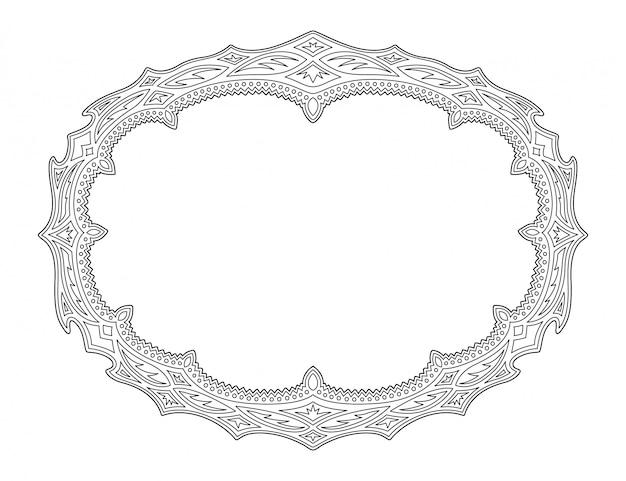 Arte lineal para colorear página con borde