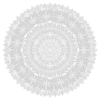 Arte lineal para colorear página con patrón redondo