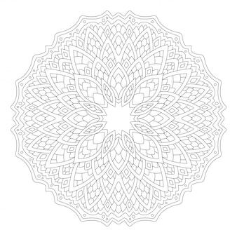 Arte lineal para libro de colorear con patrón redondo