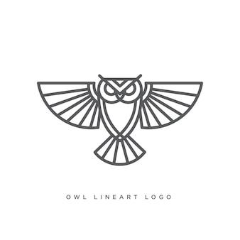 Arte lineal del logo de búho