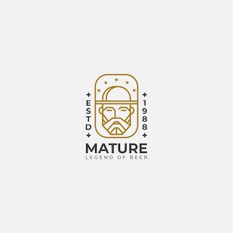 Arte lineal del logo del viejo hombre,