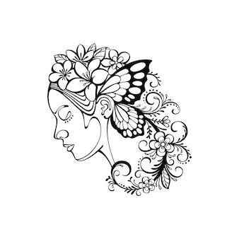 Arte lineal de mujer y flor