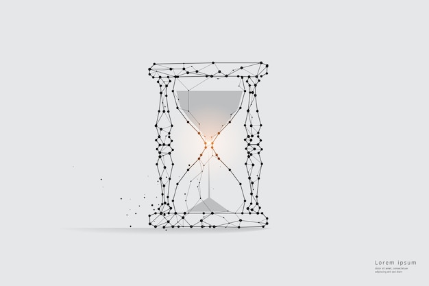 Arte lineal de partículas. concepto de reloj de arena y tiempos.