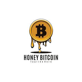 Arte del logotipo de bitcoin de miel