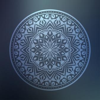 Arte de mandala de lujo con fondo arabesco plateado estilo oriental islámico árabe