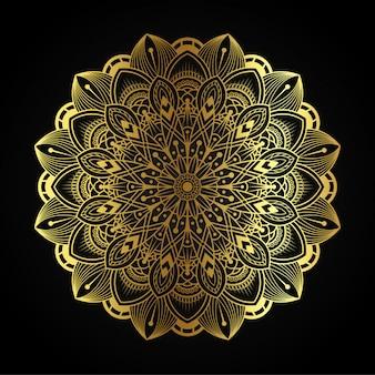 Arte de mandala de lujo con ilustración arabesca dorada