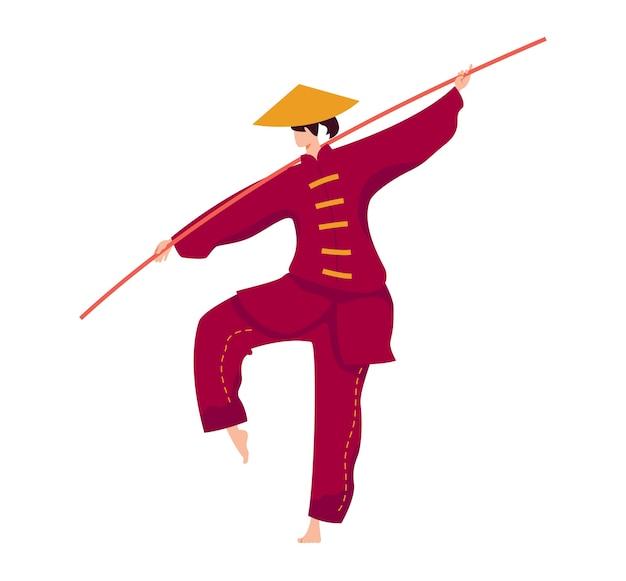 Arte marcial, luchador de palo japonés, luchador fuerte, ejercicio de entrenamiento deportivo de kung fu, ilustración plana, aislado en blanco. entrenamiento de protección contra golpes, mujer profesional con vestimenta tradicional.