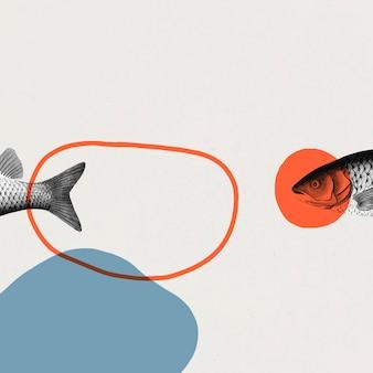 Arte de marco de peces vintage