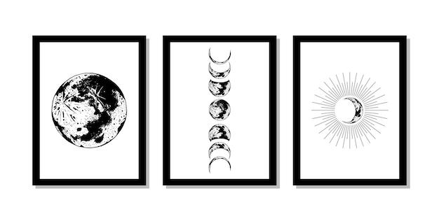 Arte mural de la luna y el eclipse.