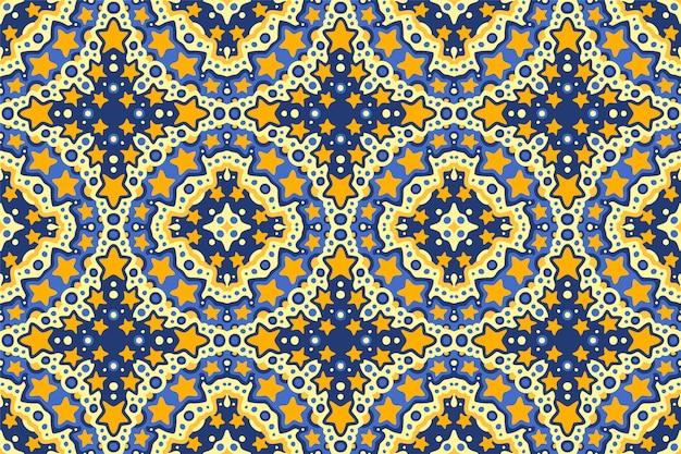 Arte nocturno con patrón de mosaico sin fisuras estrellado
