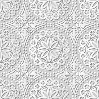 Arte de papel 3d transparente damasco cordón de flor de punto redondo