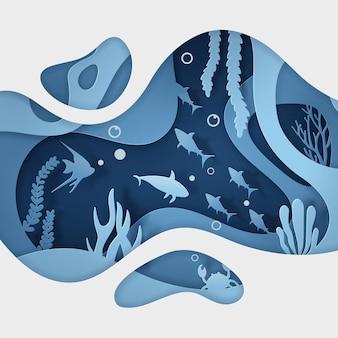 Arte de papel bajo el agua con animales en los océanos.