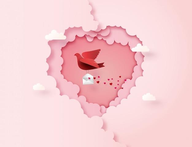 Arte en papel del amor y el día de san valentín,