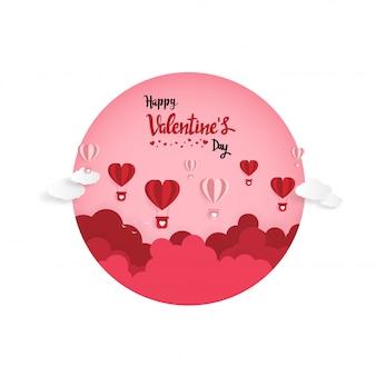 Arte de papel del amor de la ilustración y el día de san valentín