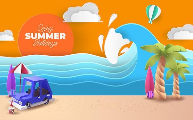 Arte en papel del aparcamiento azul en la playa con texto de bienvenida de verano, origami y concepto de viaje,