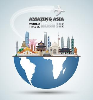 Arte de papel de asia famoso hito. viajes globales y viaje infografía.