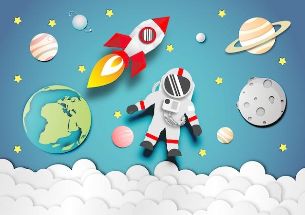 Arte de papel de astronauta y cohete o nave espacial en el fondo del espacio