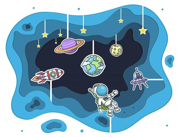 Arte en papel de astronauta