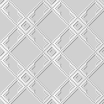 Arte de papel blanco cuadrado check cross frame geometry line, elegante fondo de patrón de decoración para tarjeta de felicitación de banner web