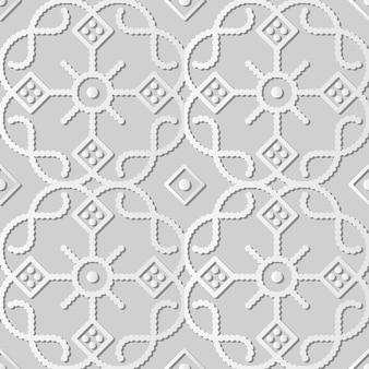 Arte de papel blanco curve check cross round dot line frame flower, fondo de patrón de decoración elegante para tarjeta de felicitación de banner web