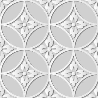 Arte de papel blanco flor de marco de cruz redonda, fondo de patrón de decoración elegante para tarjeta de felicitación de banner web