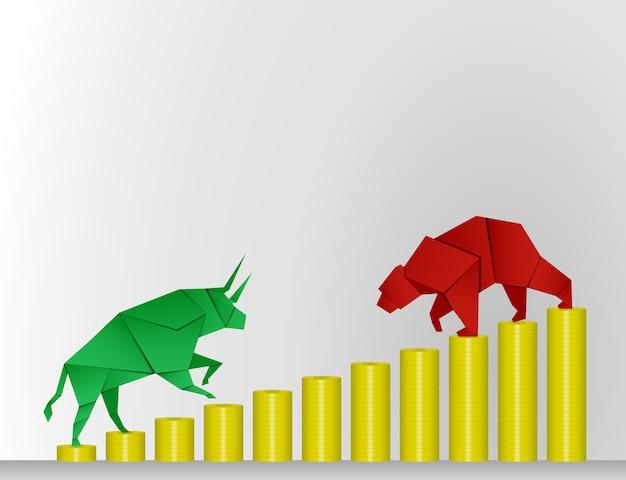 Arte de papel de bull and bear con arte de papel moneda para vector de mercado de valores e ilustración