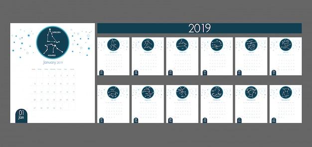 Arte de papel del calendario 2019 con vector zodiaco y horóscopo