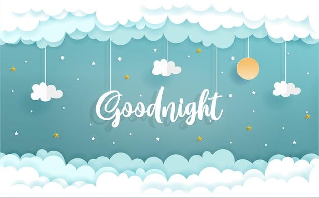 Arte de papel con concepto de buenas noches con nubes y estrellas