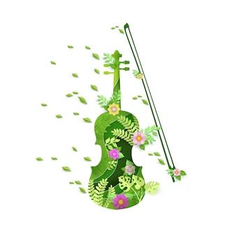 Arte de papel con diseño de instrumento de violín en primavera.