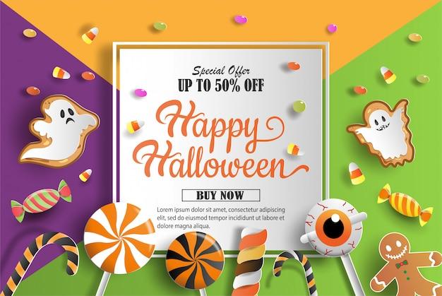 Arte de papel y estilo artesanal de banner de promoción de decoraciones de halloween.