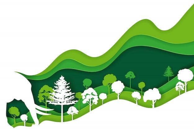 Arte en papel y estilo artesanal digital de paisaje con elefante y bosque ecológico verde, día de la tierra y concepto del día mundial del medio ambiente
