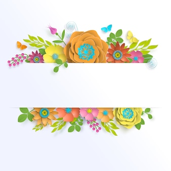Arte de papel floral de plantilla de banner con mariposa