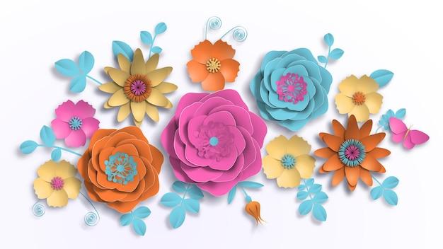 Arte de papel, flores de verano sobre un fondo blanco con hojas cortadas de papel. ilustración vectorial de stock