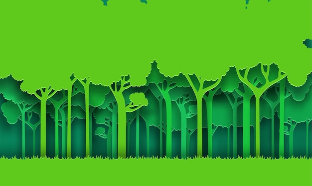 Arte de papel de fondo de bosque de naturaleza verde eco
