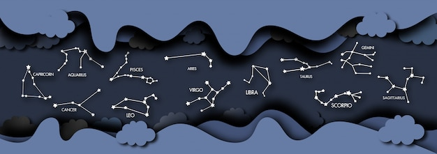Arte de papel del fondo cosmos y zodiacal.