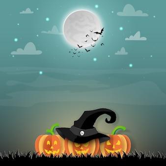 Arte de papel halloween, jack o'lantern y murciélagos en el bosque