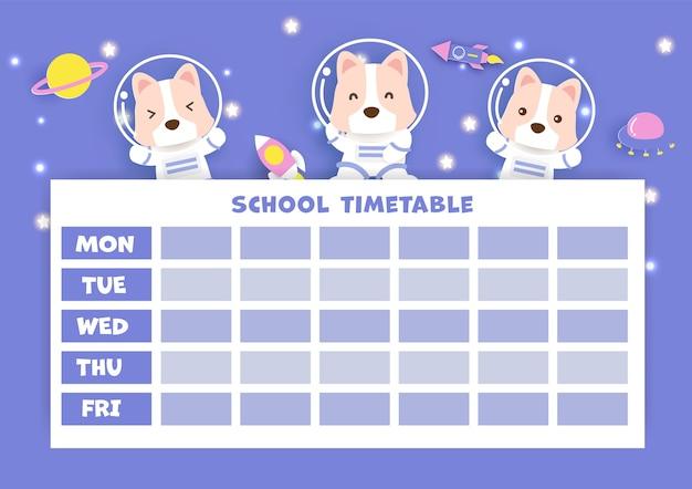 Arte de papel horario de regreso a la escuela con lindo perro corgi