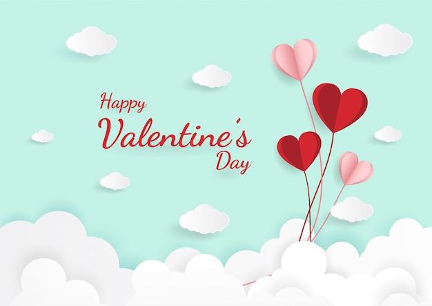 Arte en papel de ilustración amor y día de san valentín