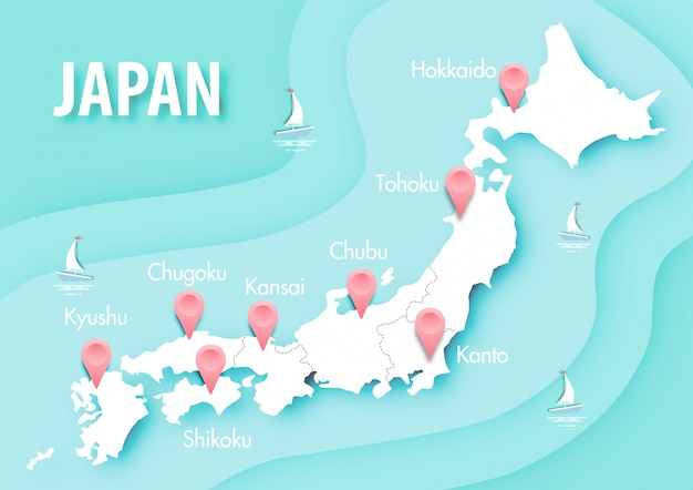 Arte de papel del mapa de japón en vector de fondo azul océano