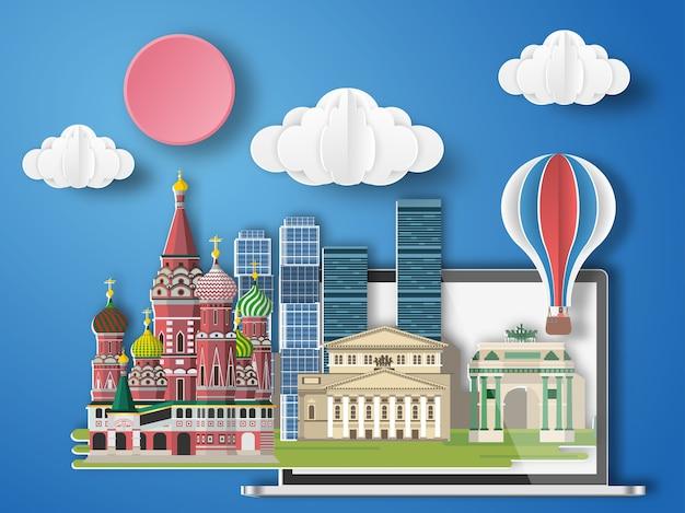 Arte de papel moscú, rusia infografía.