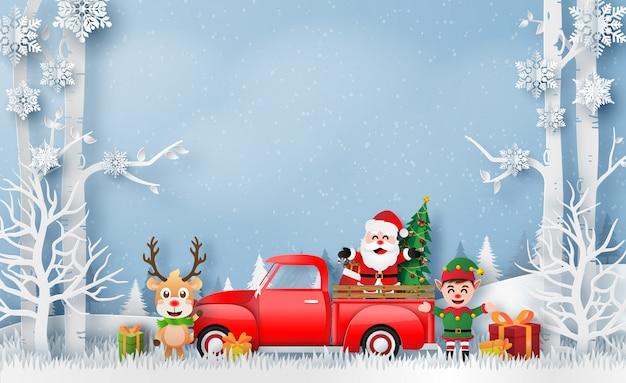 Arte de papel de origami de camión rojo de navidad con santa claus, renos y elfos
