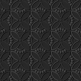 Arte de papel oscuro curva redonda cruz pétalos de flores, vector elegante patrón de decoración de fondo