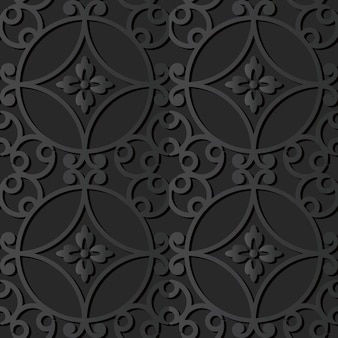 Arte de papel oscuro flor espiral curva redonda, vector de fondo de decoración elegante