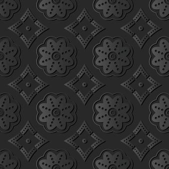 Arte de papel oscuro línea de puntos de curva redonda flor, vector de fondo de patrón de decoración elegante